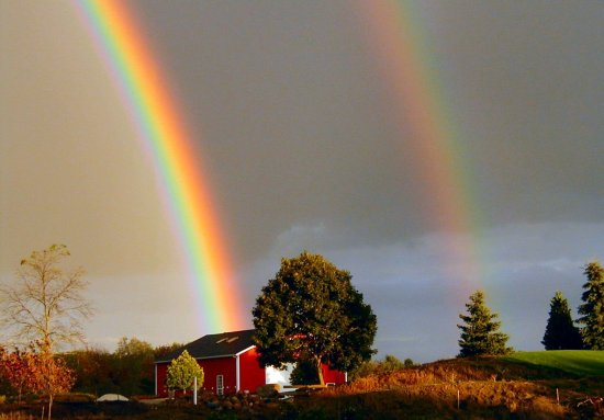 rainbow with red barn
